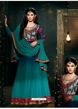 Dark Green shade Embroidered Work Anarkali Suit