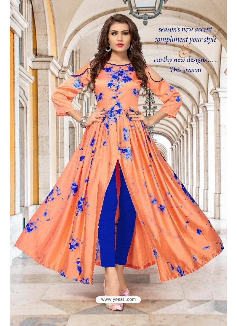 2dc6525136 Buy Peach Partywear Designer Readymade Kurti | Party Wear Kurtis
