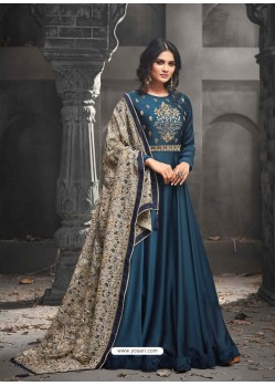 Teal Blue Mudal Silk Embroidered Anarkali Suit
