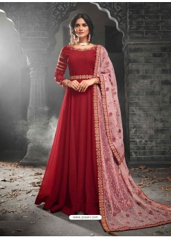 Red Georgette Embroidered Anarkali Suit