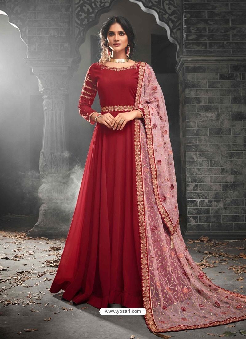 a6ba37ca39 Buy Red Georgette Embroidered Anarkali Suit   Anarkali Suits