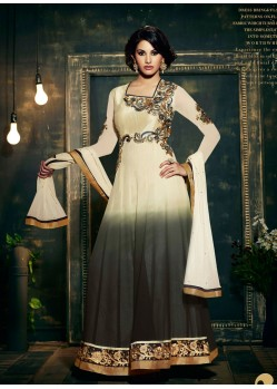Off White Embroidered Work Anarkali Suit