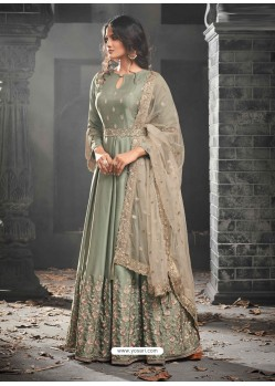 Olive Green Mudal Silk Embroidered Anarkali Suit