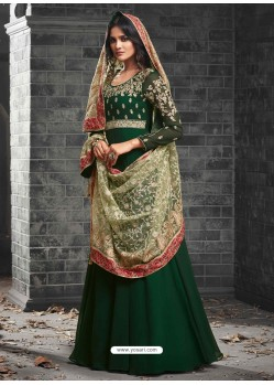 Dark Green Georgette Embroidered Anarkali Suit