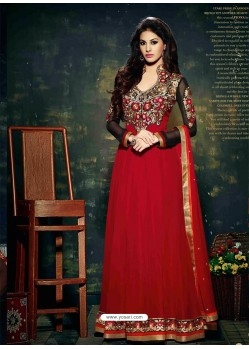 Red Embroidered Work Anarkali Suit