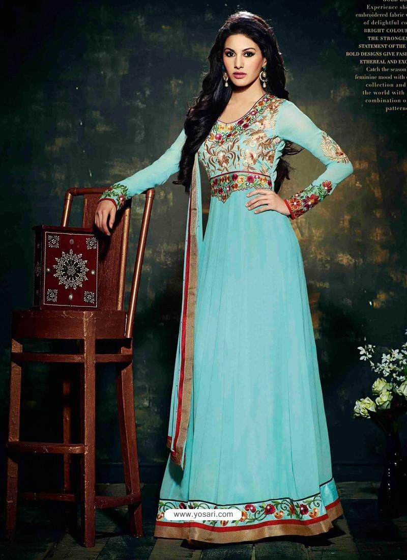 Sky Blue Embroidered Work Anarkali Suit