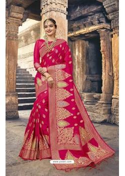 Splendid Crimson Designer Silk Saree