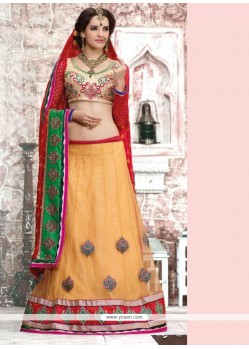 Cream And Red Net And Crepe Jacquard Lehenga Saree
