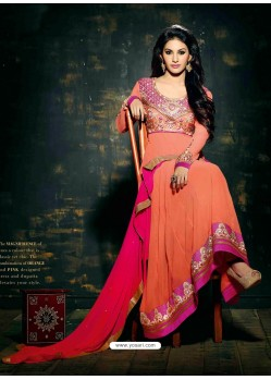 Peach Embroidered Work Anarkali Suit