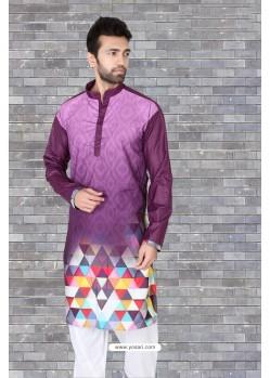 Deep Wine Cotton Polyster Designer Readymade Mens Kurta Pajama