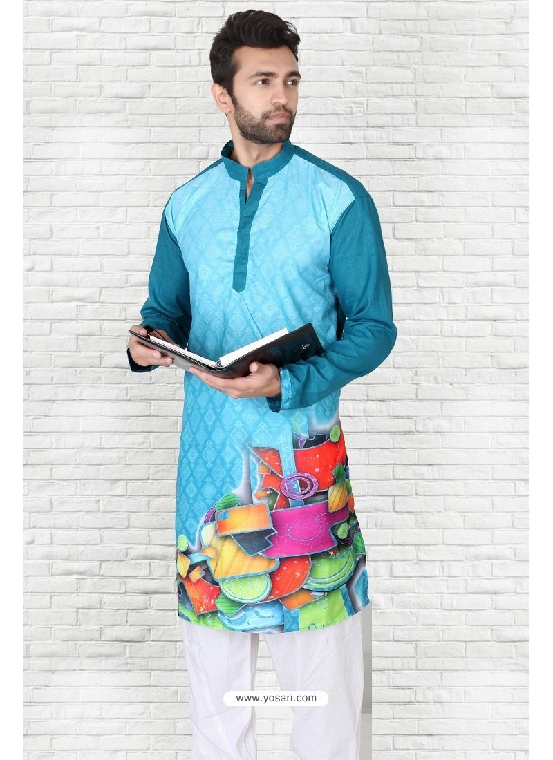 Buy Magnificent Teal Blue Cotton Polyster Designer Readymade Mens ...