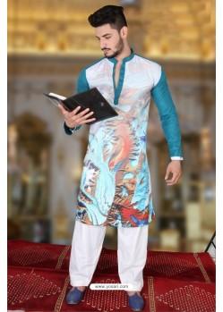Marvelous Teal And Multi Colour Polyster Designer Readymade Mens Kurta Pajama