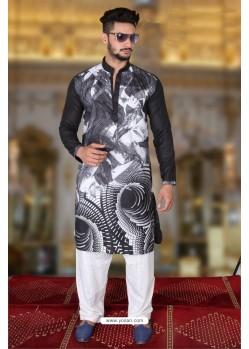 Incredible Black Cotton Polyster Designer Readymade Mens Kurta Pajama