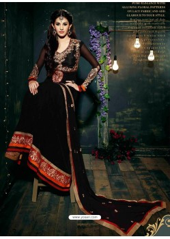 Black Embroidered Work Anarkali Suit