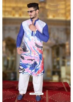 Groovy Royal Blue And Multi Colour Polyster Designer Readymade Mens Kurta Pajama