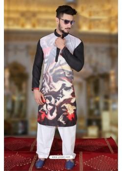 Mesmeric Black And Multi Colour Polyster Designer Readymade Mens Kurta Pajama