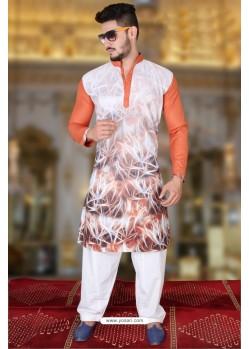 Fabulous Orange And Multi Colour Polyster Designer Readymade Mens Kurta Pajama