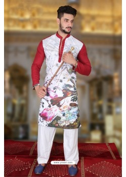 Crimson And Multi Colour Polyster Designer Readymade Mens Kurta Pajama