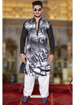 Fashionable Multi Colour And Black Polyster Designer Readymade Mens Kurta Pajama