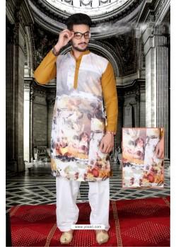 Astonishing Mustard And Multi Colour Polyster Designer Readymade Mens Kurta Pajama