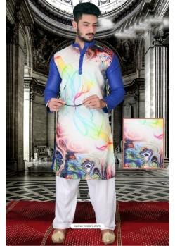 Glowing Royal Blue And Multi Colour Polyster Designer Readymade Mens Kurta Pajama