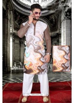 Modern Brown And Multi Colour Polyster Designer Readymade Mens Kurta Pajama