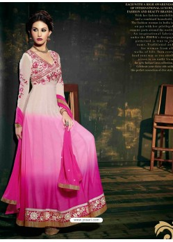 White And Pink Embroidered Work Anarkali Suit