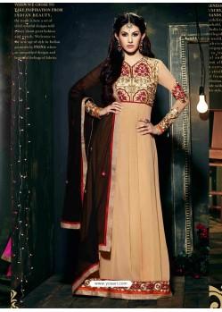 Cream Embroidered Work Anarkali Suit