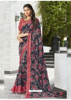 Black And Multi Colour Georgette Printed Silk Saree