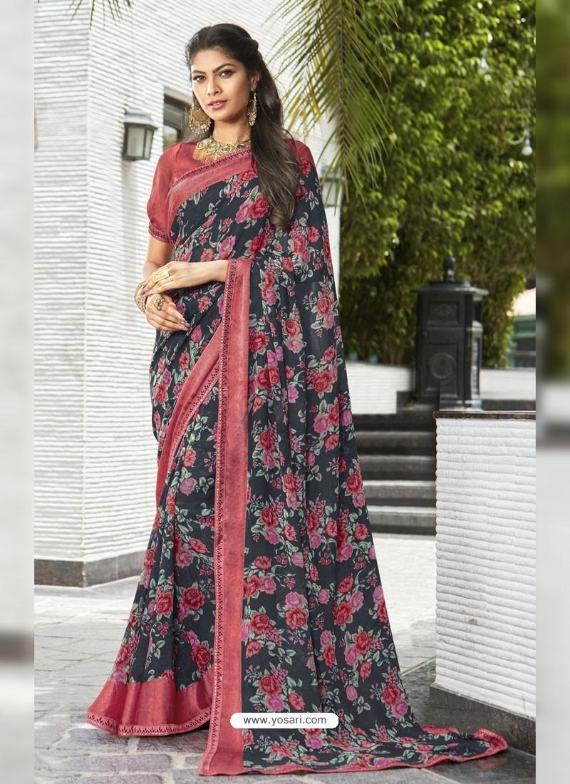 4fb007e6550fec Buy Black And Multi Colour Georgette Printed Silk Saree