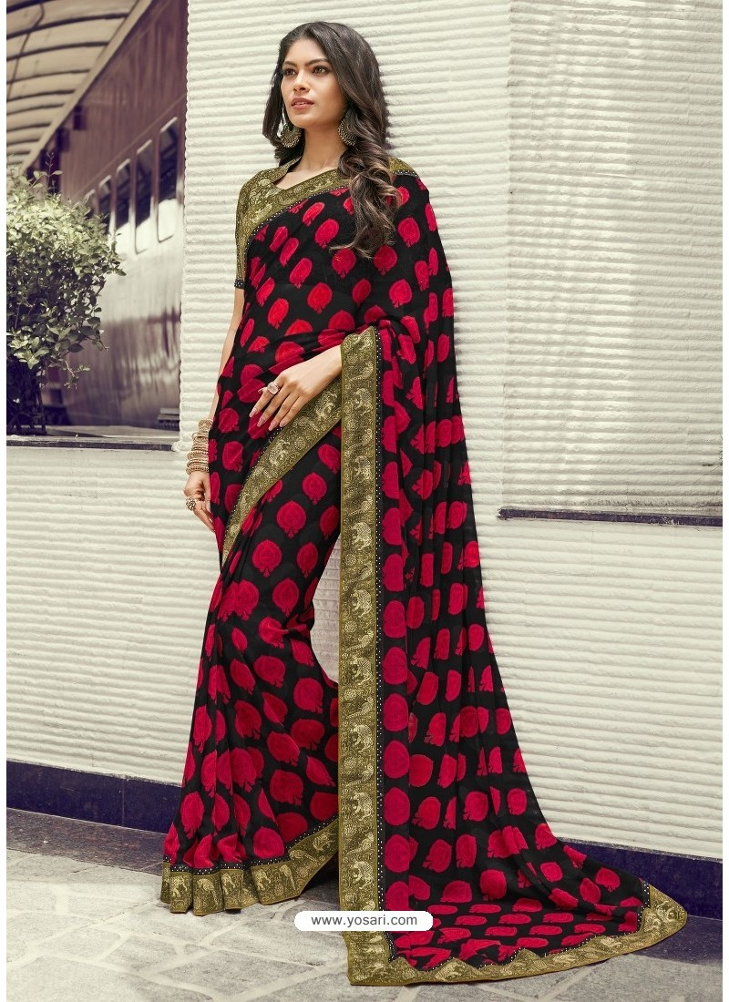 c454f958e9640b Buy Black And Red Georgette Printed Silk Saree