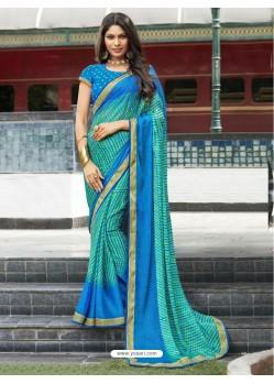 Jade Green And Blue Chiffon Printed Silk Saree