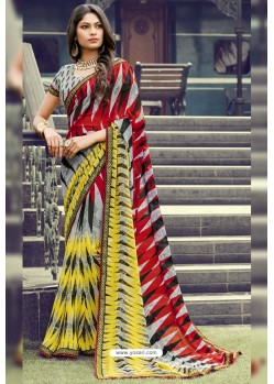 Multi Colour Georgette Printed Silk Saree