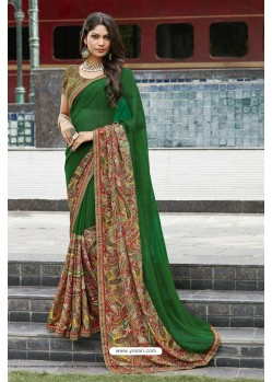 Dark Green Georgette Printed Silk Saree