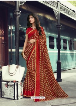 Red And Mustard Georgette Printed Silk Saree