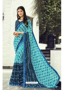 Turquoise Chiffon Printed Silk Saree