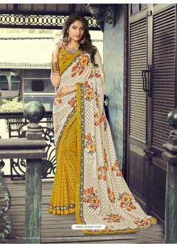 Cream And Yellow Half n Half Georgette Printed Silk Saree