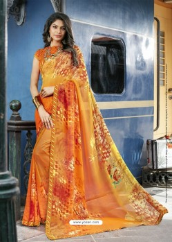 Orange Georgette Printed Silk Saree