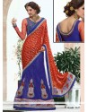 Marvelous Red And Blue Viscose Party Wear Lehenga Saree