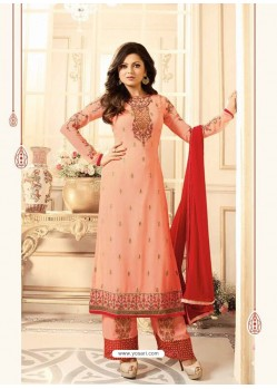 Charming Peach Georgette Designer Plazzo Suit