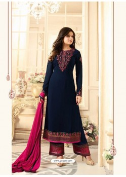 Beauteous Navy Blue Georgette Designer Plazzo Suit