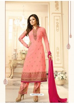 Girlish Peach Georgette Designer Plazzo Suit