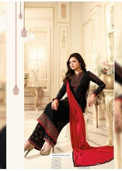 Eye Catching Black Georgette Designer Plazzo Suit