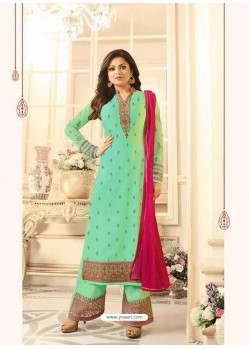 Beautiful Jade Green Georgette Designer Plazzo Suit