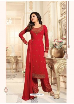 Observable Crimson Georgette Designer Plazzo Suit