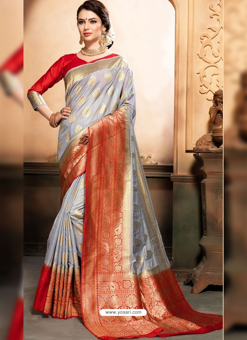 2b523d7c56 Buy Grey And Red Raw Silk Traditional Designer Silk Saree | Designer ...