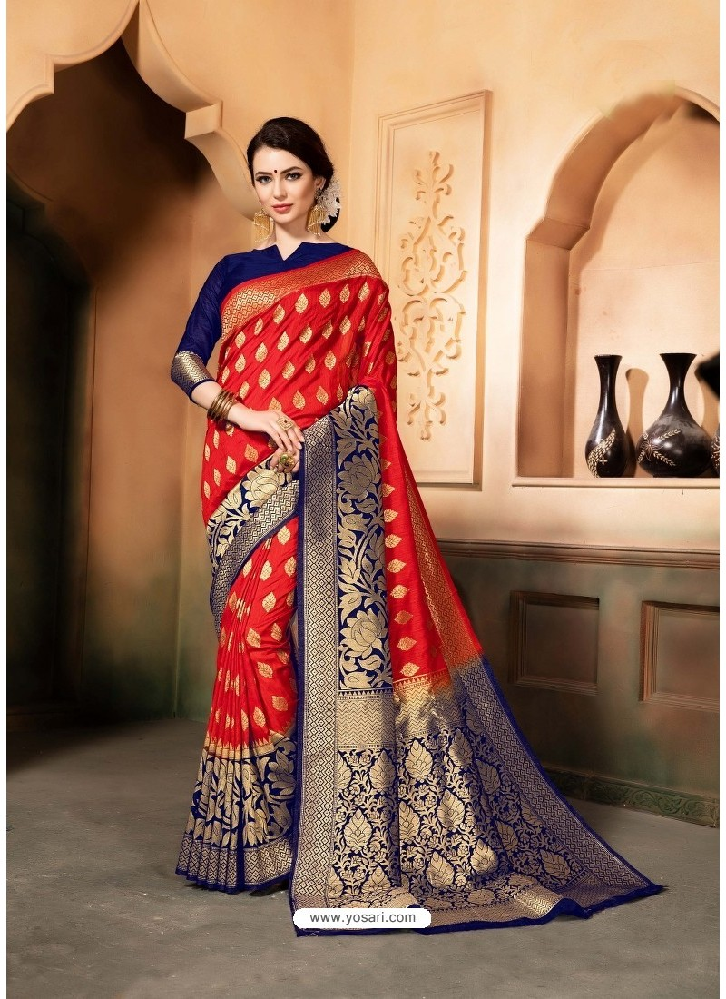 0628bcbc3aaad Buy Red And Blue Raw Silk Traditional Designer Silk Saree
