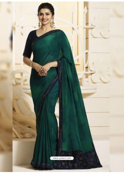 Teal Georgette Silk Designer Party Wear Saree