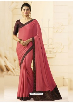 Peach Silk Designer Party Wear Saree