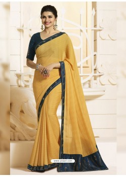 Yellow Georgette Silk Designer Party Wear Saree
